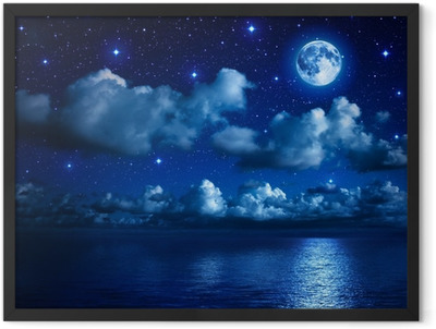 super moon in starry sky with clouds and sea Framed Poster