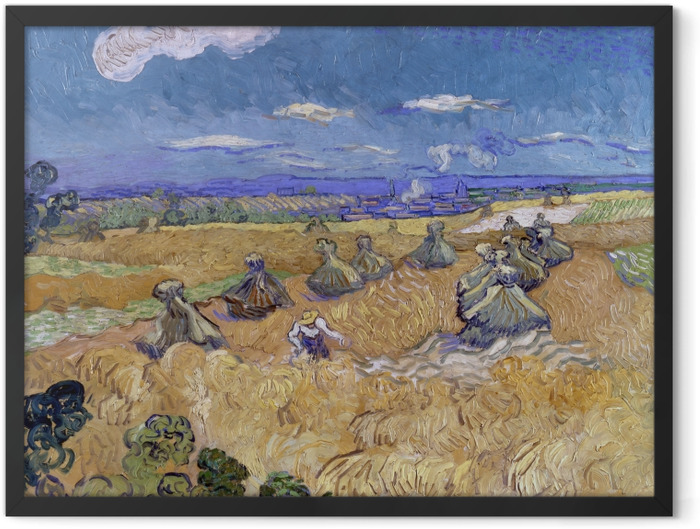 Gerahmtes Poster Vincent van Gogh - Weizenfeld mit Schnitter - Reproductions