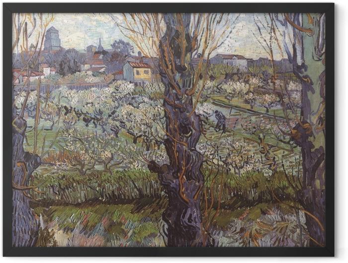Poster en cadre Vincent van Gogh - Verger en fleur avec vue d'Arles - Reproductions