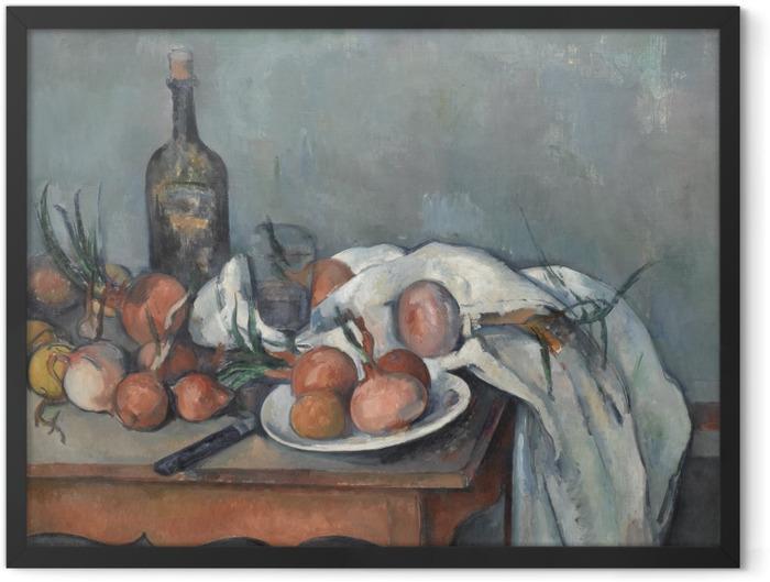 Gerahmtes Poster Paul Cézanne - Stillleben mit Zwiebeln - Reproduktion