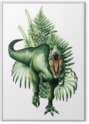 Poster en cadre Dinosaure aquarelle réaliste