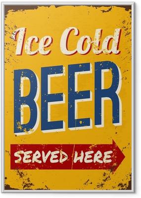 Gerahmtes Poster Weinlese-Bier Blechschild