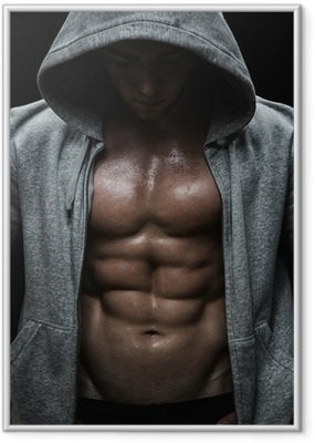 Close up of muscular sports man after weights training Framed Poster