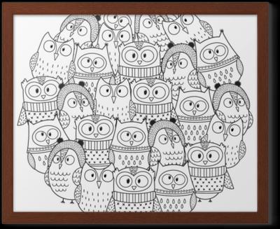 Boyama Kitabi Icin Kis Daire Sekli Desen Komik Baykuslar Noel