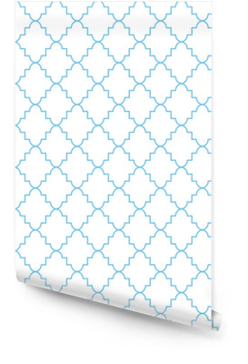 Quatrefoil klassiske netto sømløse vektor mønster. blå og hvid traditionelle marokkanske simple rhomb ornament. Tapetrulle