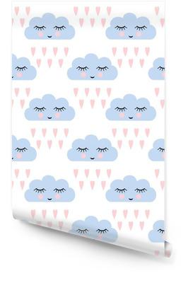 Chmury wzór. Jednolite wzór z uśmiechem śpiących chmury i serca dla dzieci święta. Cute baby shower tło wektor. Dziecko rysunek styl deszczowe chmury w miłości ilustracji wektorowych. Tapeta w rolce
