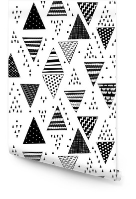 b1b4eccc Sømløs mønster med dekorative hånddrevne trekanter. Rulletapet