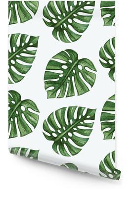 Watercolor tropical palm leaves seamless pattern. Vector illustration. Rollo de papel pintado