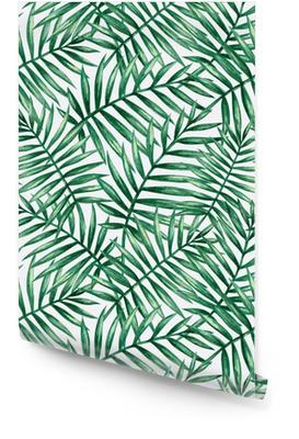 Acuarela tropical Palma hojas de patrones sin fisuras. ilustración vectorial Rollo de papel pintado