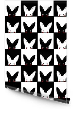 Sort hvid kanin skakbræt baggrund vektor illustration Tapetrulle
