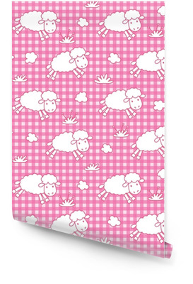 Seamless pattern with funny sheeps and clouds Wallpaper Roll