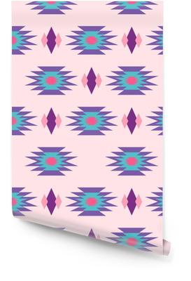53c94453 Aztec indian geometrisk sømløs mønster. Tribalblå og rosa stoffdesign med  geometriske formelementer. Rulletapet