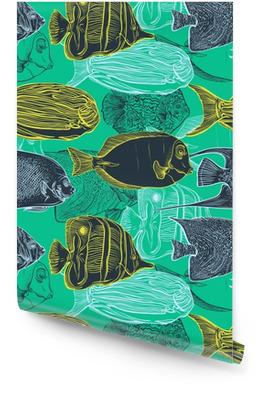 Seamless mønster med samling af tropiske fish.Vintage sæt håndtegnet marine fauna.Vector illustration i line art stil. Design til sommer strand, dekorationer. Tapetrulle