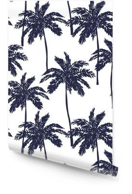 Le palme silhouette su sfondo bianco. Vector seamless con piante tropicali. Rotolo di carta da parati