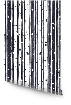 Abstract Hand Drawn Seamless Pattern with Black and White Lines Wallpaper Roll