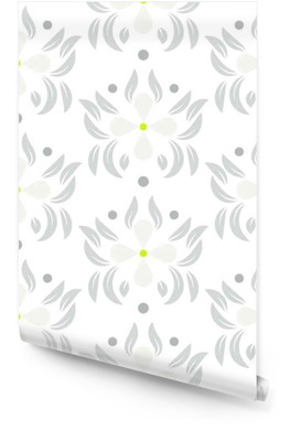 Floral leaves seamless vector pattern. White gray flower repeating wallpaper pattern. Wallpaper roll