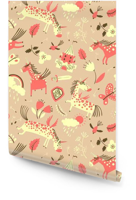 Magic unicorns seamless background Wallpaper roll