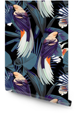 birds, orchids and night jungle seamless background Wallpaper Roll