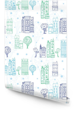 Vector Town Houses Trees Streets Blue Green Drawing Seamless Pattern with polka dots. Perfect for travel themed designs products, bags, accessories, luggage, clothing, home decor. Wallpaper Roll