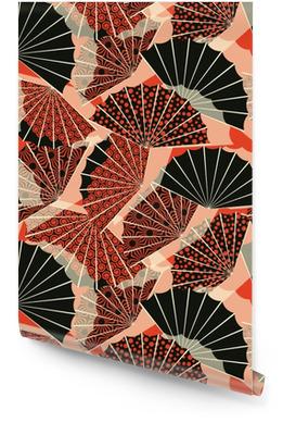 En japansk stil fan form sømløs mønster, med 3 forskellige dekorationer i en orange og sort palette Tapetrulle