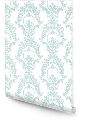 Vector Vintage Damask Pattern ornament Imperial style. Ornate floral element for fabric, textile, design, wedding invitations, greeting cards, wallpaper. Opal blue color Wallpaper roll