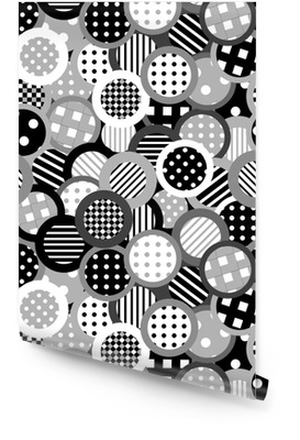 Black and white background with circles Wallpaper roll
