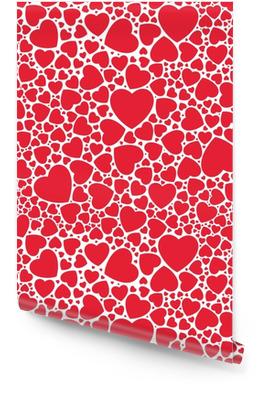 Seamless pattern rosso elegante con cuori. illustrazione vettoriale. Rotolo di carta da parati
