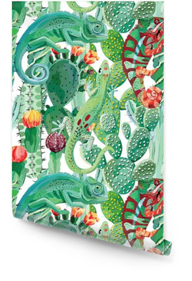 Camaleonte e cactus sfondo trasparente Rotolo di carta da parati