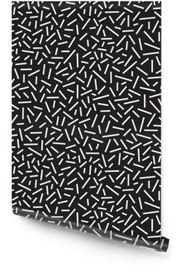 Geometrické pozadí s přímými liniemi. Memphis styl bezešvé vzor. Černé a bílé, vektorové ilustrace Tapeta v rolích