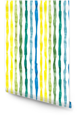Watercolor stripped background. Vertical strips on white. Seamless pattern. Vector wallpaper. Wallpaper Roll