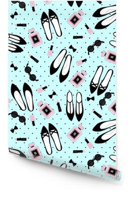 Bezešvé módní doplňky vzor. roztomilé módní ilustrace s černými botami, růžová rtěnka, lak na nehty, parfém, sluneční brýle na mátové zelené polky tečky pozadí. Tapeta v rolích
