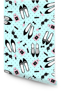 Seamless fashion accessories pattern. Cute fashion illustration with black shoes, pink lipstick, nail polish, perfume, sunglasses on mint green polka dots background. Wallpaper Roll