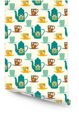 Vintage naadloze vector patroon met theepotten, thee mokken en koffie kopjes Behangrol