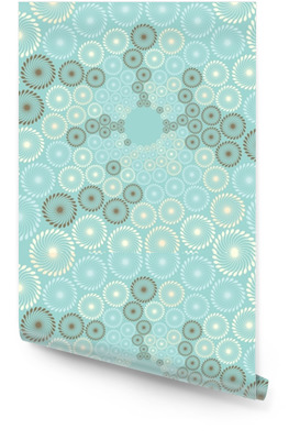 a stylized view of a dandelions bubbles flow in soft blue, ivory, and brown Wallpaper Roll