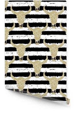 Hand gezeichnetes nahtloses Muster. Goldglitterschädel auf gestreiftem Hintergrund. zum Einwickeln, Tapete, Textil, Stoff Tapetenrolle