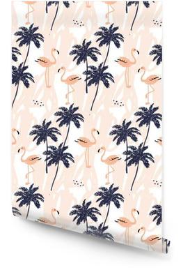 Palm arbres silhouette et rougir flamant rose sur le fond blanc avec des traits. Vector seamless pattern avec des oiseaux et de plantes tropicales. Rouleau de papier peint
