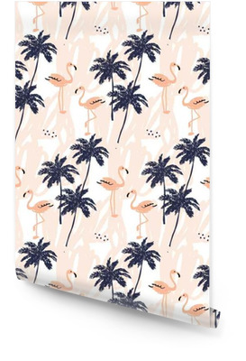Palm trees silhouette and blush pink flamingo on the white background with strokes. Vector seamless pattern with tropical birds and plants. Wallpaper Roll