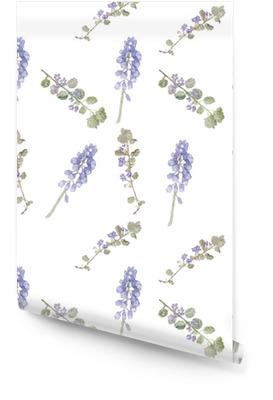 Patrón de flores de color púrpura. Flores del campo, hierba fina patrón de la acuarela Rollo de papel pintado