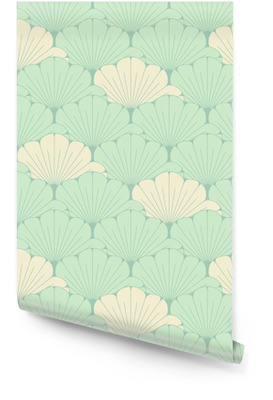a Japanese style seamless tile with exotic foliage pattern in soft blue Wallpaper Roll