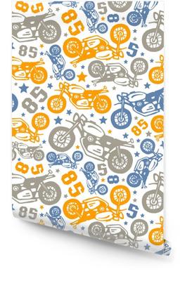 Patrones sin fisuras con dibujos de motocicletas Rollo de papel pintado