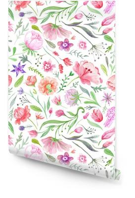 Bright Vintage Watercolor Summer Pattern Wallpaper roll