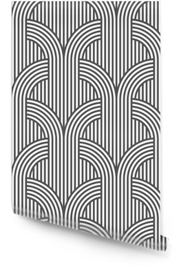 Black and white geometric striped seamless pattern - variation 5 Wallpaper Roll