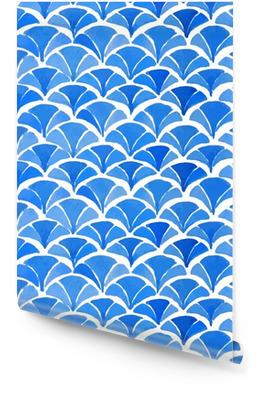 Aquarelle bleu motif japonais. Rouleau de papier peint