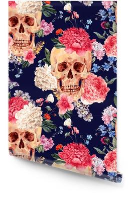 Vektor nahtlose Muster mit Totenkopf und Blumen Tapetenrolle