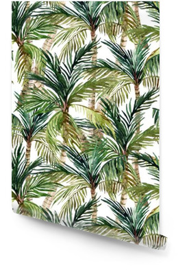 Watercolor palm tree seamless pattern Wallpaper roll