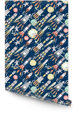 Preview Save to a lightbox Find Similar Images Share Stock Vector Illustration: hand drawn cartoon space seamless pattern. rockets, spacemen, planets and stars Wallpaper Roll