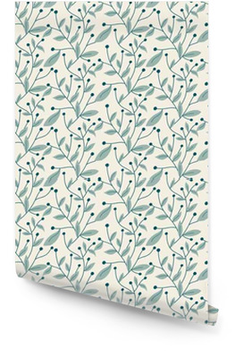 Vektor nahtlose Muster. Moderne stilvolle Hand floral Textur mit Struktur der sich wiederholenden Äste mit Blättern und Beeren gezogen. Tapetenrolle