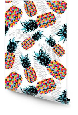 Zomer naadloze patroon met kleur retro ananas Behangrol