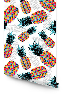 Summer seamless pattern with color retro pineapple Wallpaper roll
