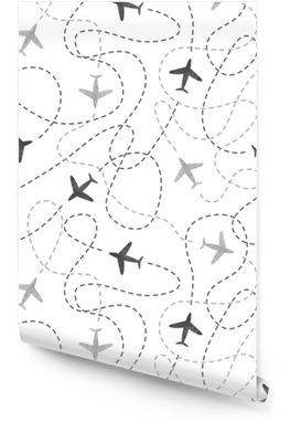 Sømløs mønster med akvarellfly. reise rundt verdenskonseptet. vektor bakgrunn. Rulletapet